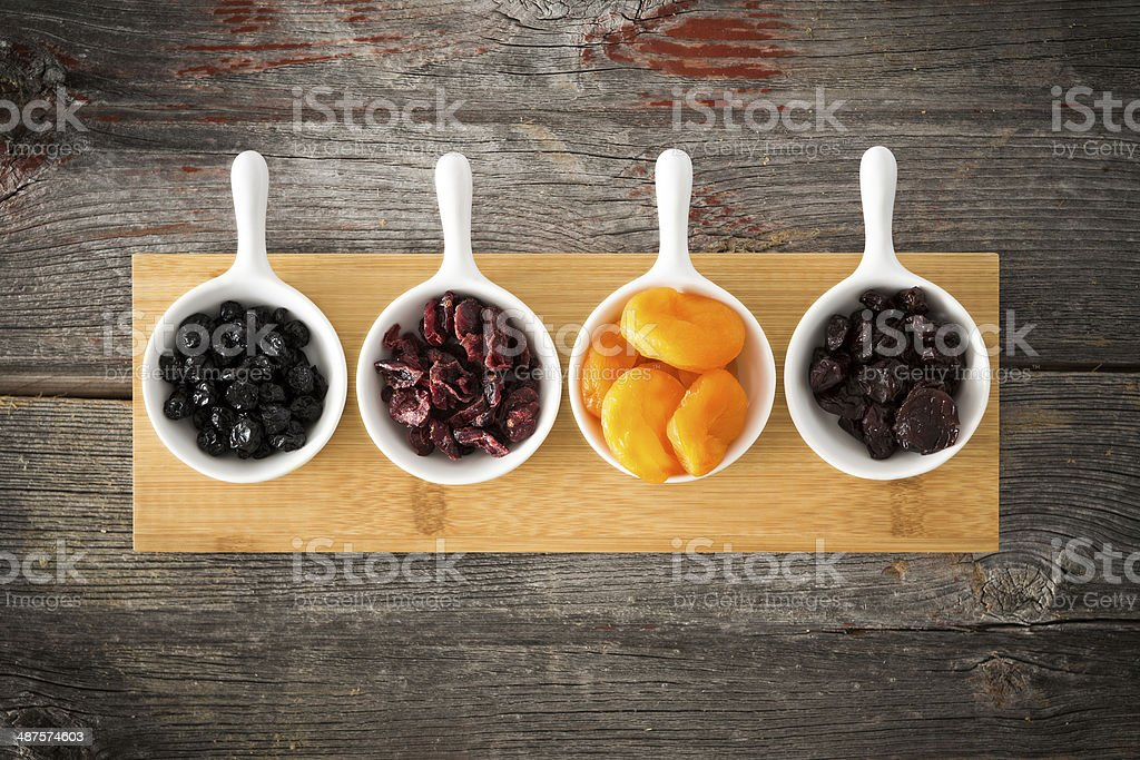 Dried cranberry, apricot, blueberries and cherries stock photo