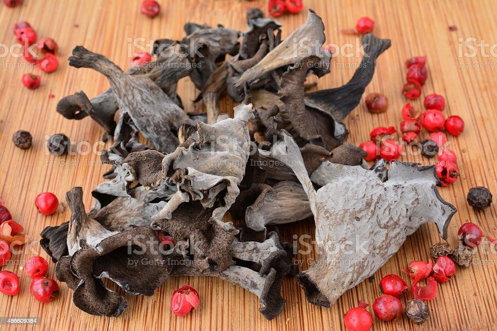Dried Craterellus cornucopioides stock photo