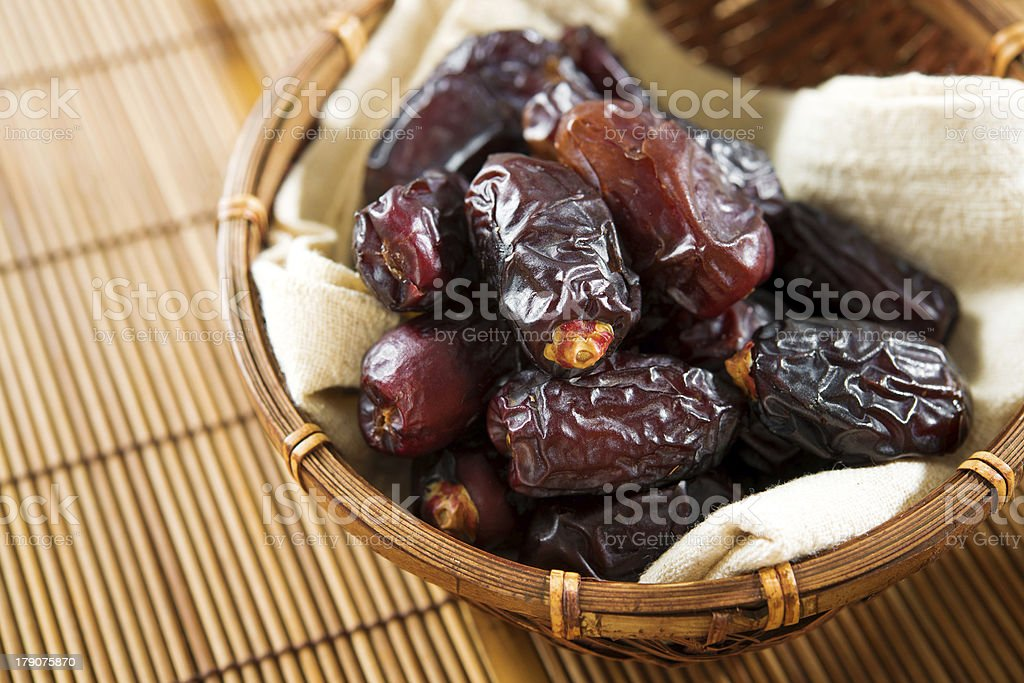 Dried date palm fruits stock photo