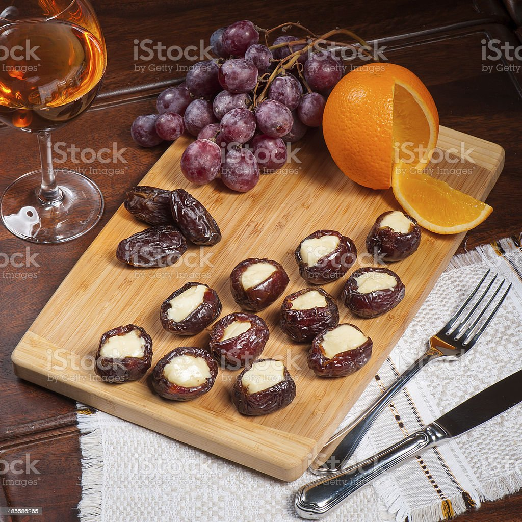Dried dates dessert stock photo