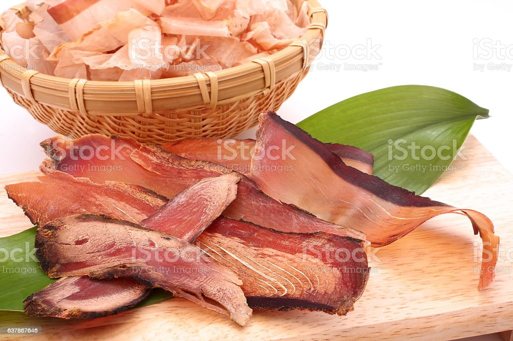 Dried dried bonito shavings, ingredients of Japanese broth stock photo