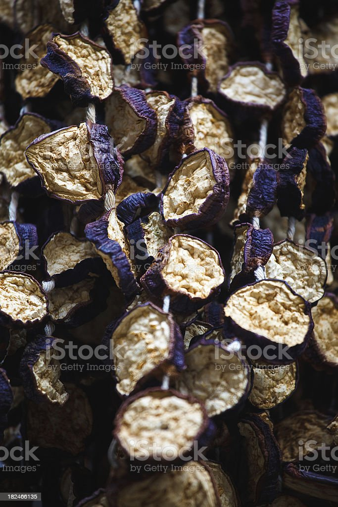 dried eggplants for sale at a turkish bazaar royalty-free stock photo