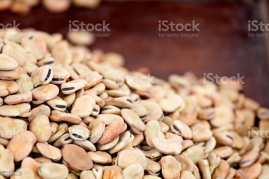 Dried Fava Beans at the Market stock photo