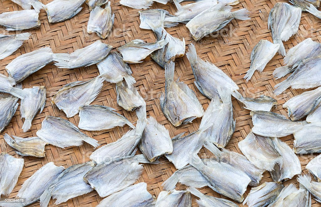 Dried fish group stock photo