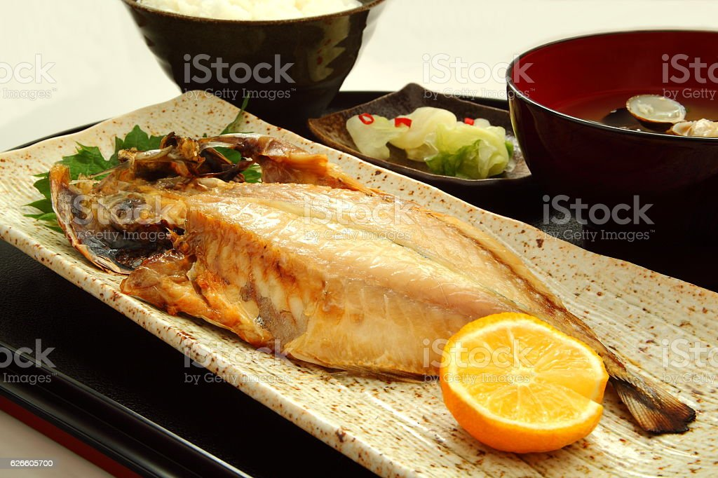 Dried fish, Japanese food stock photo