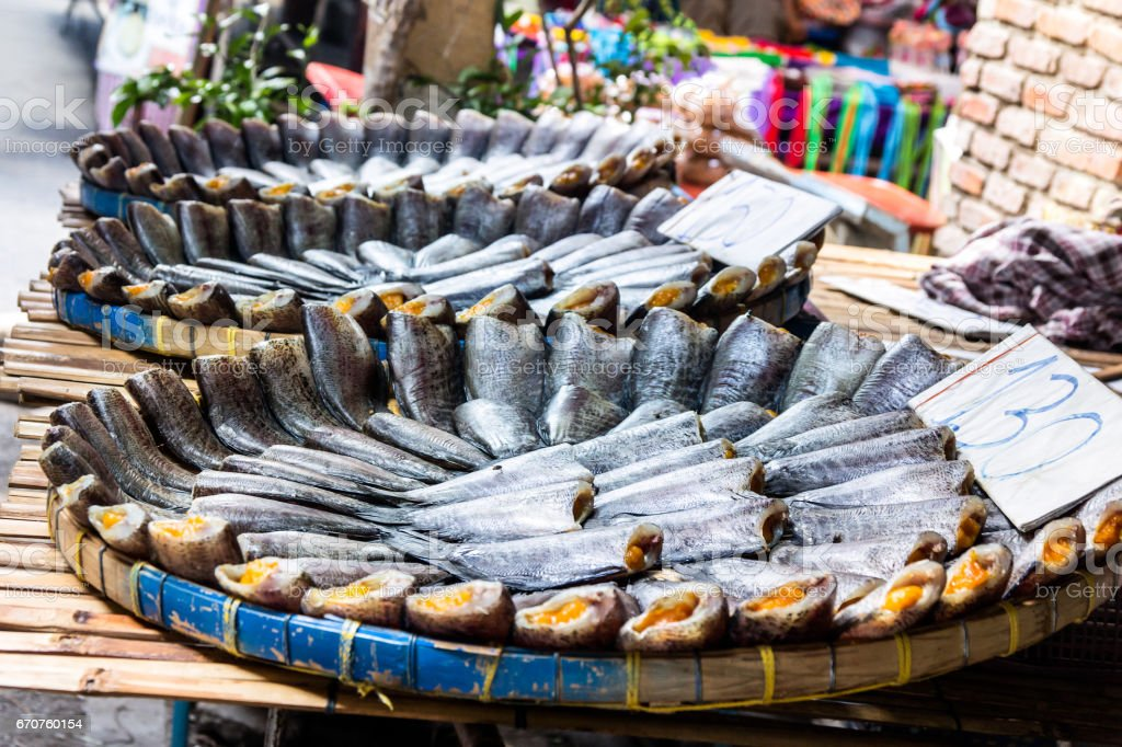 Dried fish, trichogaster pectoralis stock photo