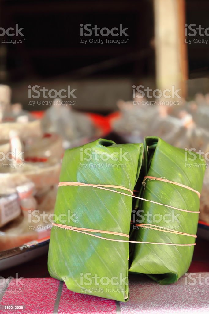 Dried fish-banana leaf packs-Ban Tha Heua village. Vientiane province-Laos. 4762 stock photo