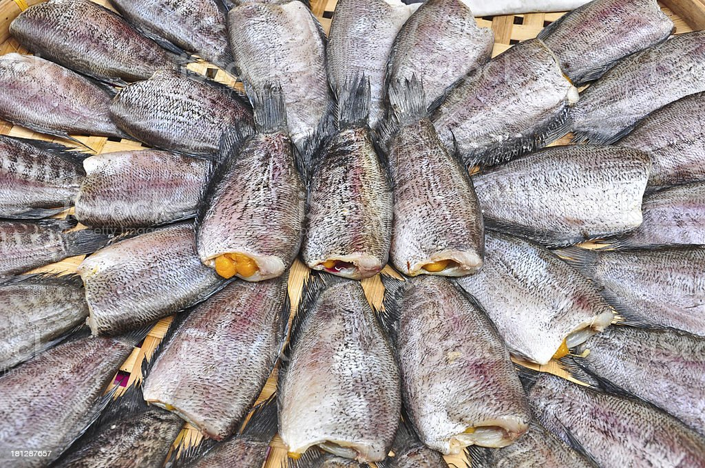 Dried fishs of local food at open market royalty-free stock photo