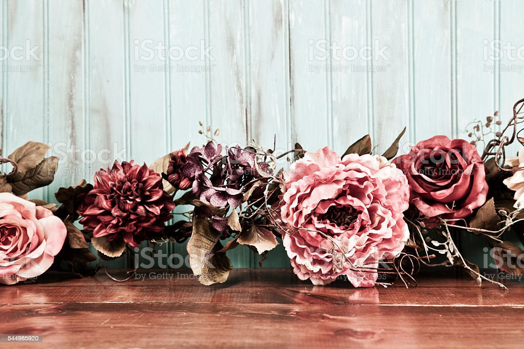 Dried floral arrangement, decor on wooden table. stock photo