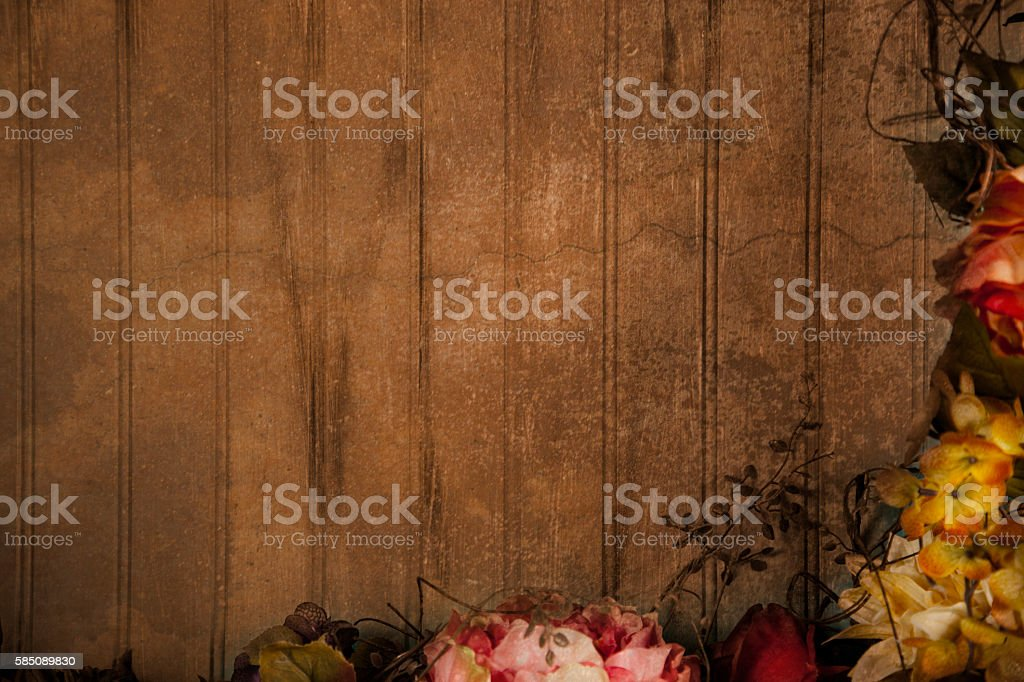 Dried floral arrangement, decoration in frame composition. stock photo