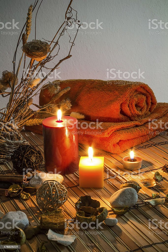 dried flowers, candles, cinnamon royalty-free stock photo