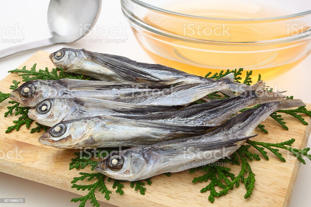 Dried flying fishes for 'Dashi' soup, Japan. stock photo