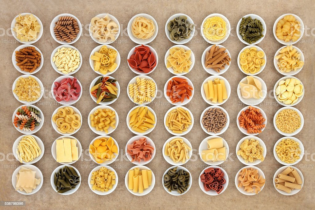 Dried Food Pasta Sampler stock photo