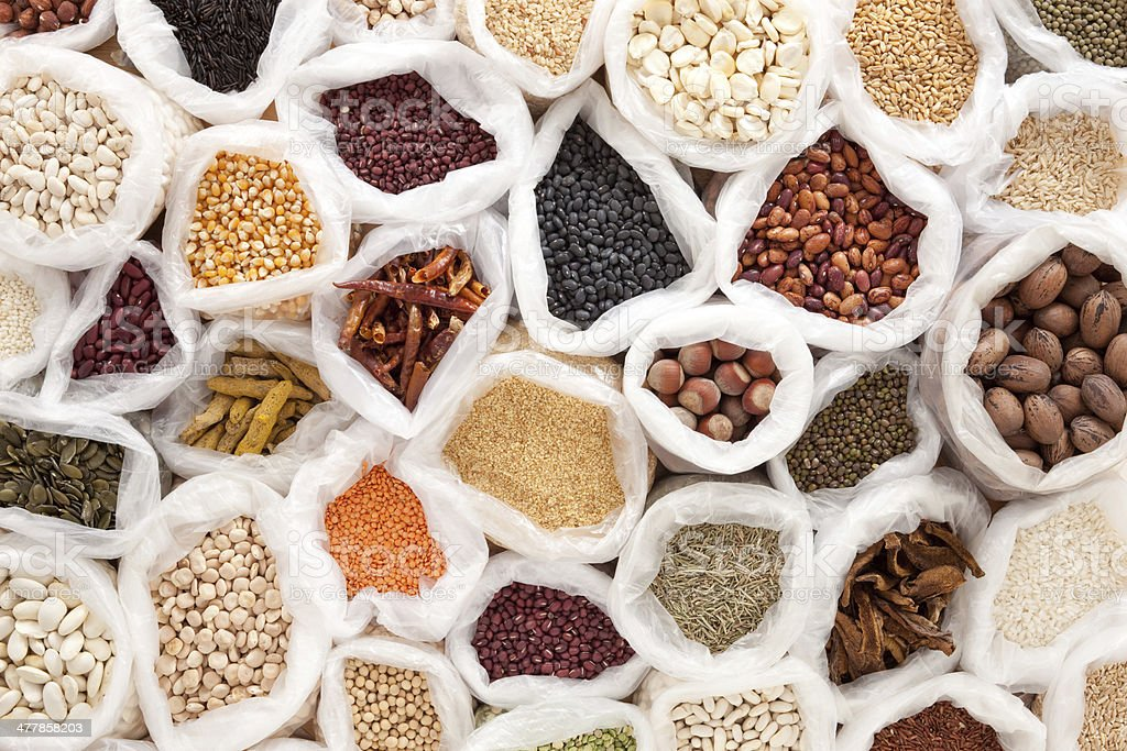 Dried foods in plastic bags stock photo