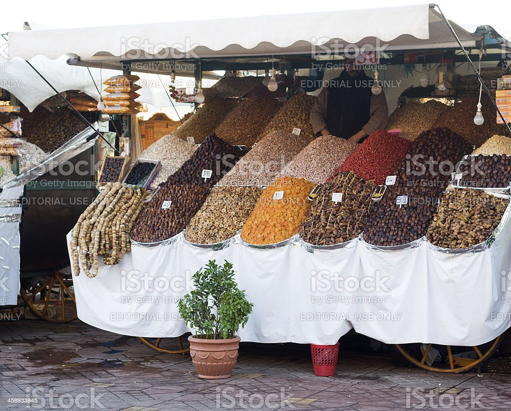 Dried fruit and nut stand royalty-free stock photo