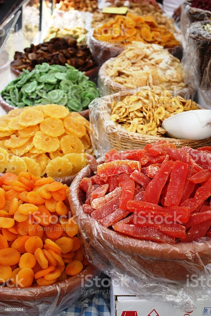 Dried fruit for sale at the market stock photo