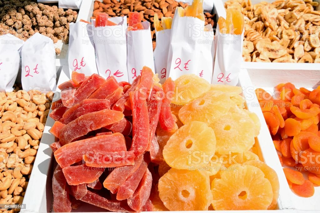 Dried fruit for sale on a waterfront stall, Chania, Crete. stock photo