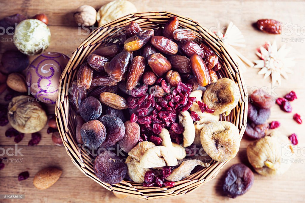 dried fruit healthy snack in winter christmas food stock photo
