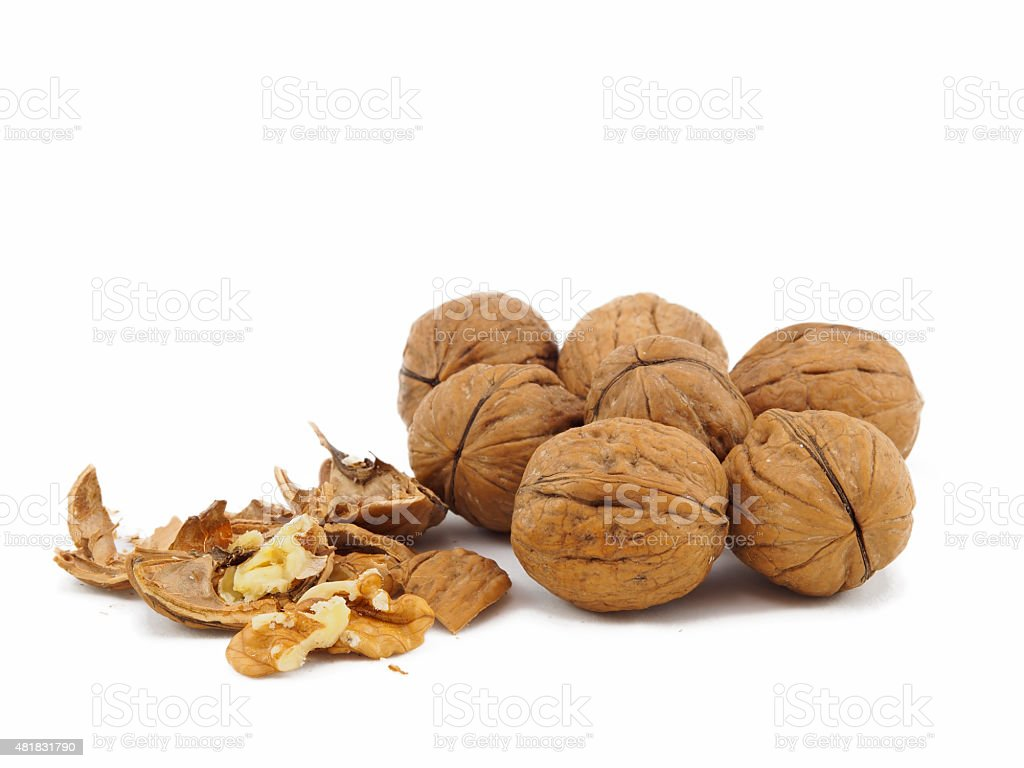Dried fruit. Healthy walnuts stock photo