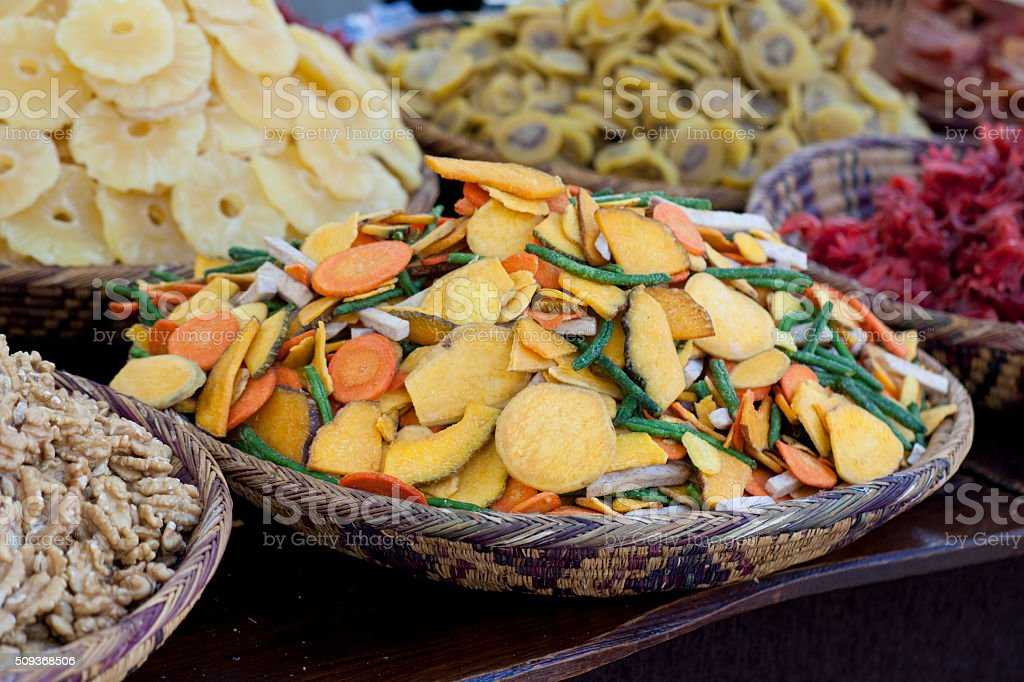 Dried fruit in the market stock photo