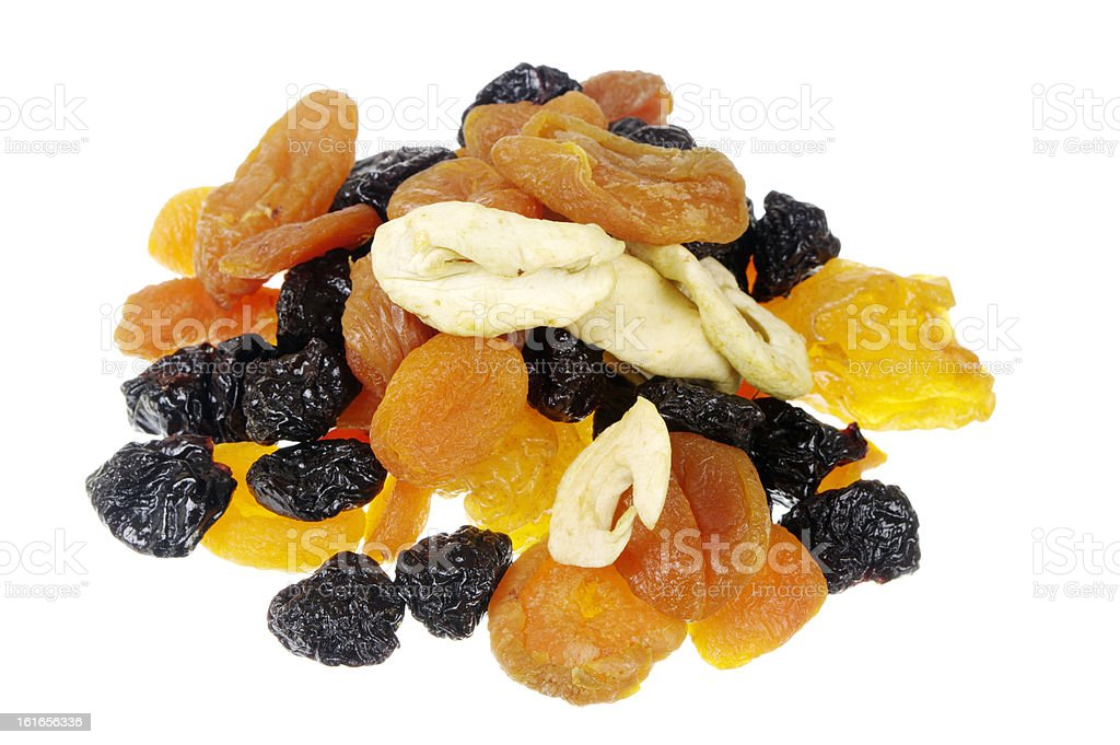 Dried Fruit Isolated On White stock photo