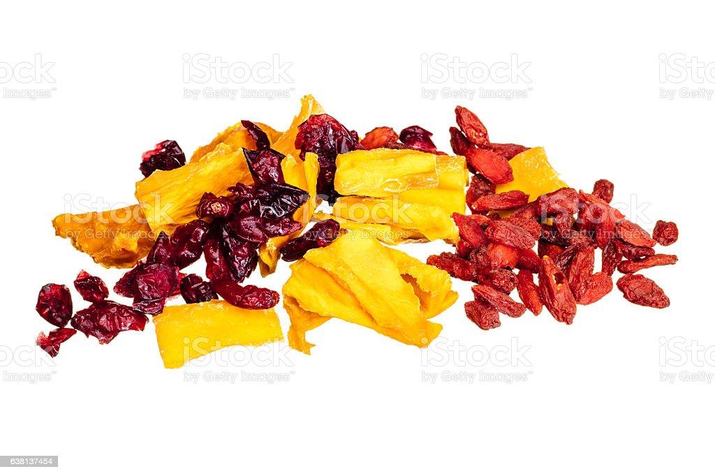 Dried fruit mango, cranberry, goji, isolated on white stock photo