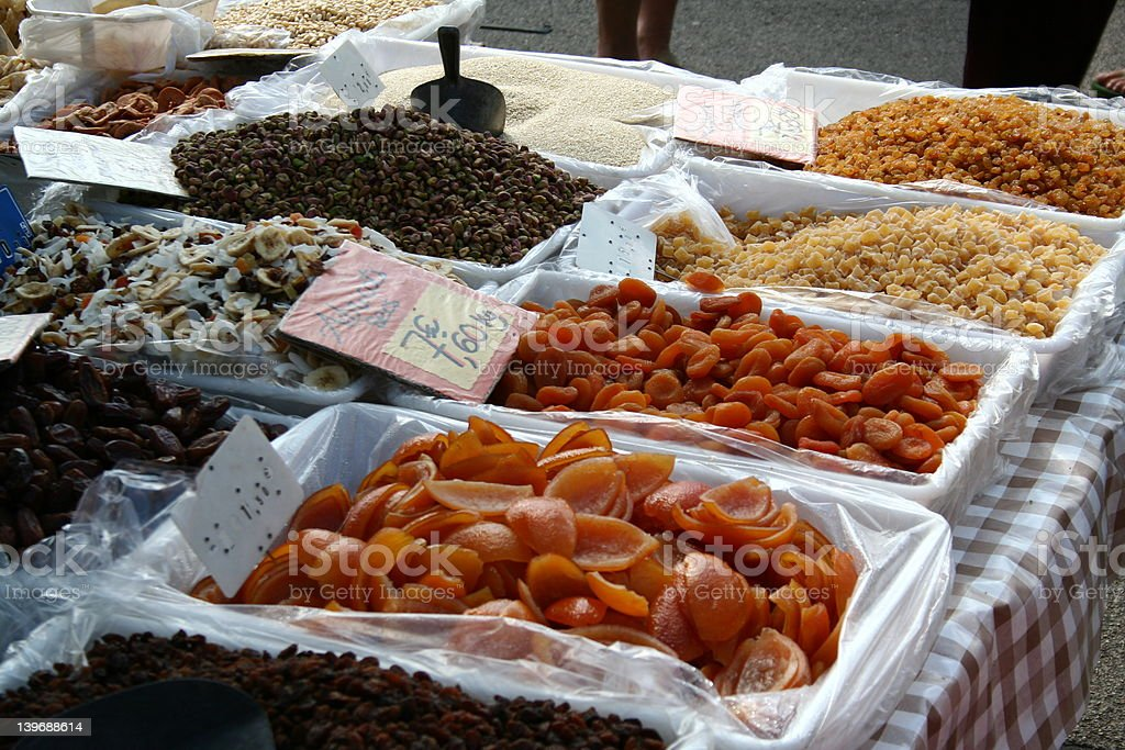 Dried Fruit on a Market Stall royalty-free stock photo
