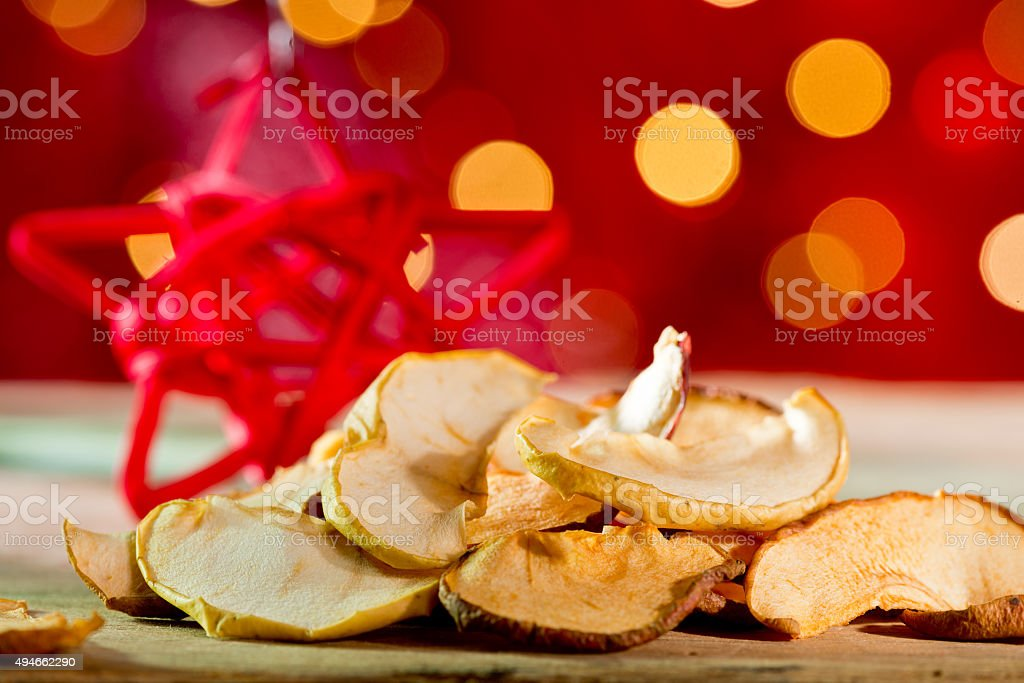Dried fruit with red star stock photo