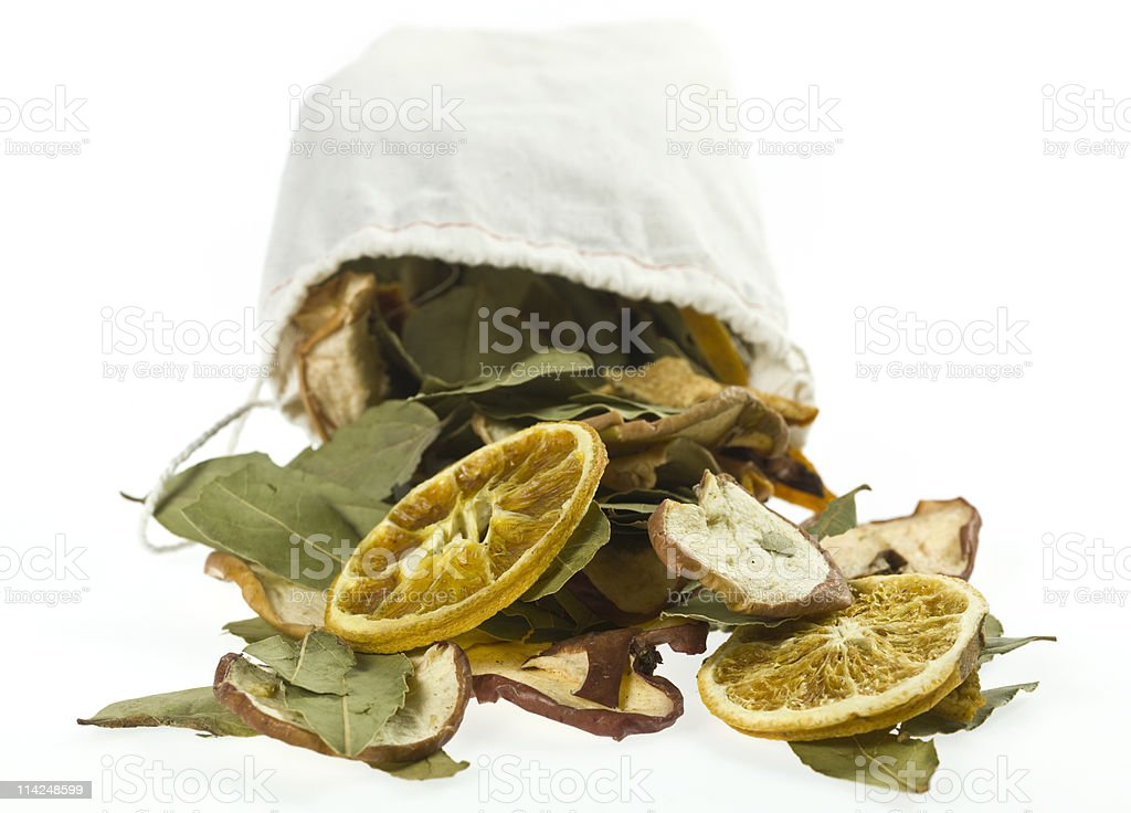 Dried Fruits and leaves Potpourri stock photo