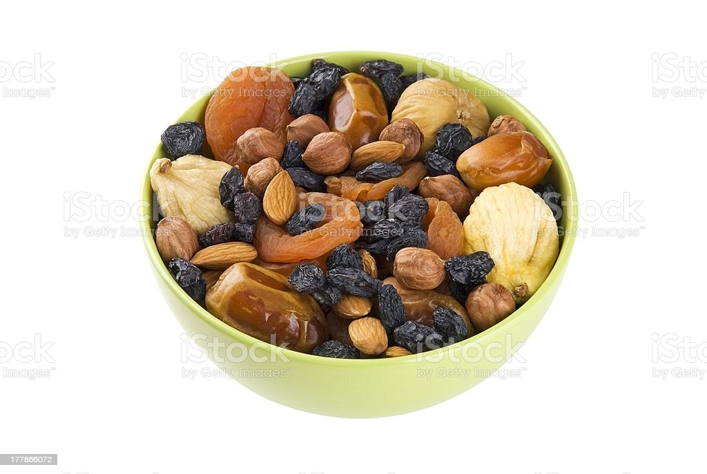 Dried fruits and nuts mix stock photo