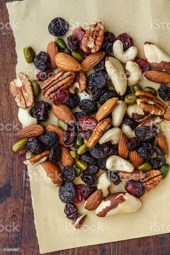 Dried fruits and nuts stock photo