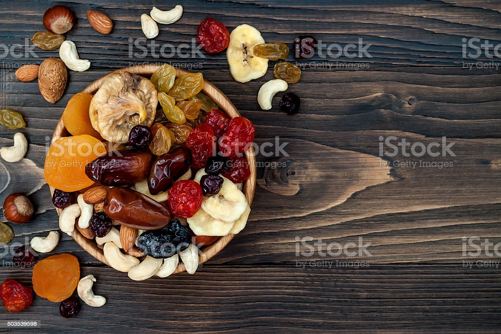 Dried fruits and nuts, symbols of judaic holiday Tu Bishvat stock photo