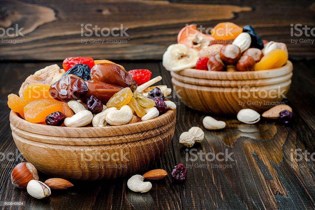 Dried fruits and nuts, symbols of judaic holiday Tu Bishvat stock photo
