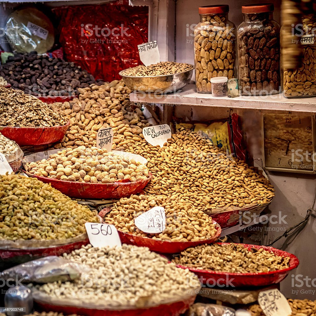 Dried fruits and seeds store at Old Delhi's spice market stock photo