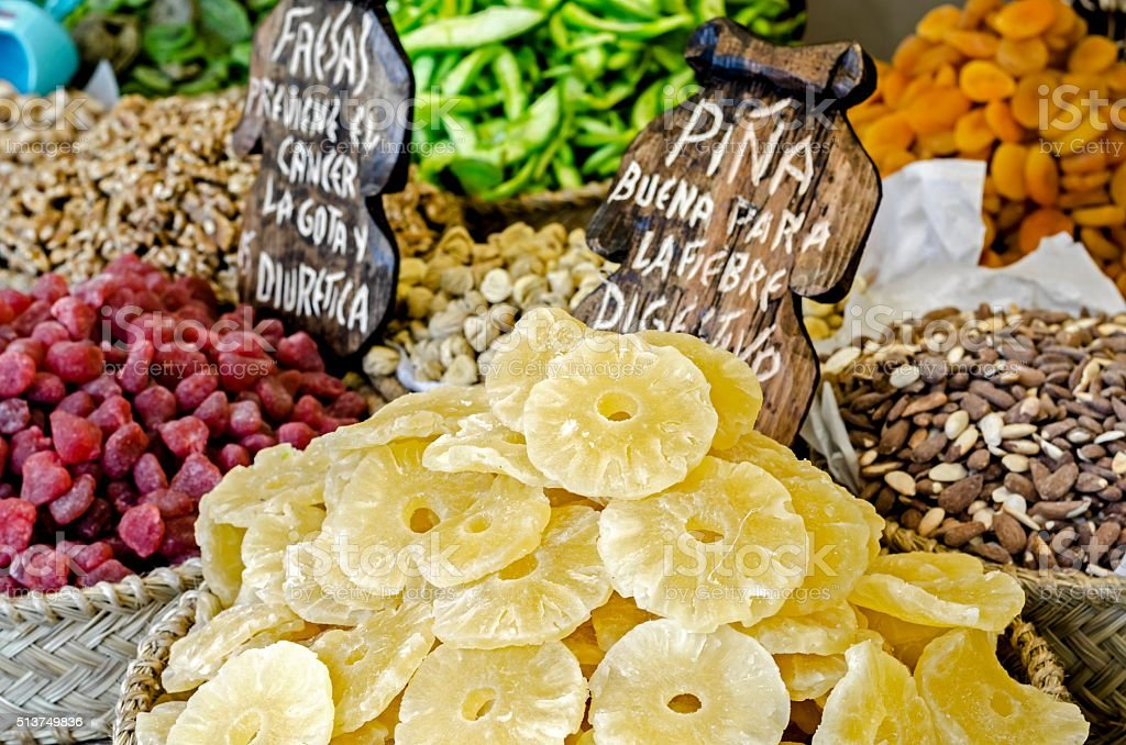 Dried fruits assortment at market stock photo