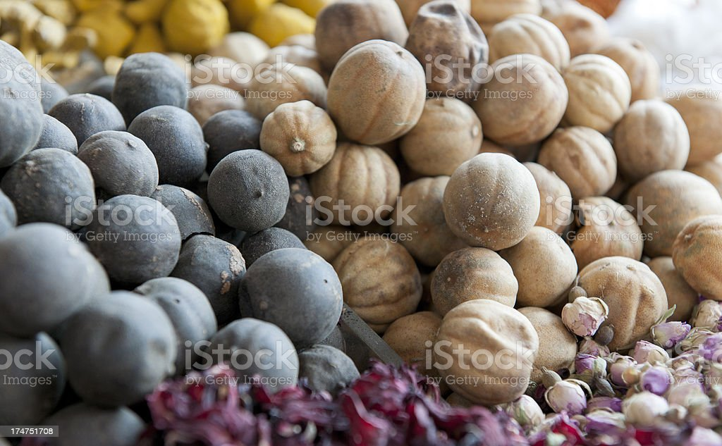 dried fruits at spice stall in Dubai royalty-free stock photo