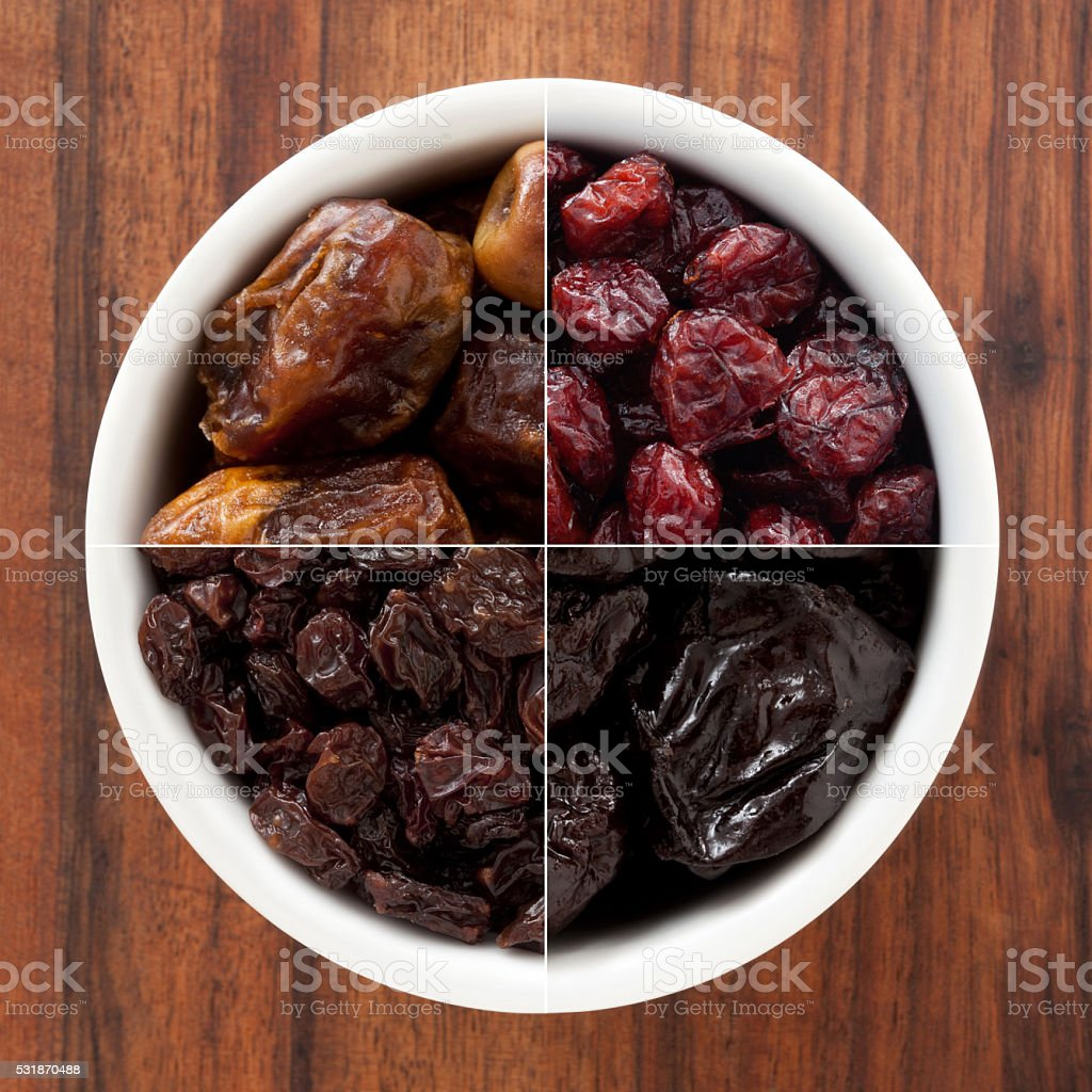 Dried fruits composition stock photo
