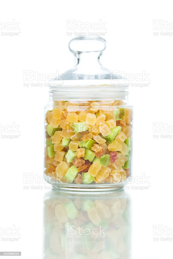 Dried fruits in the jar stock photo