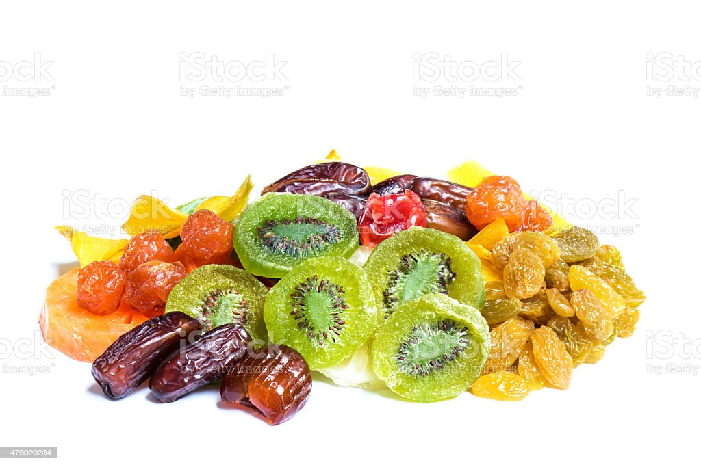 Dried fruits isolated on white background stock photo