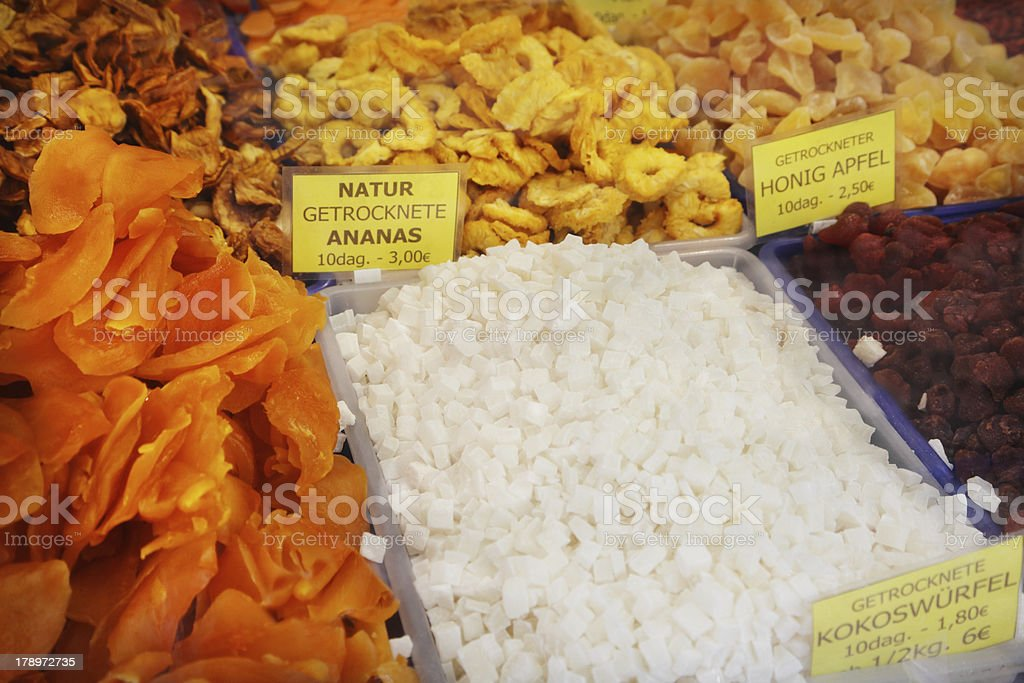 Dried fruits market royalty-free stock photo
