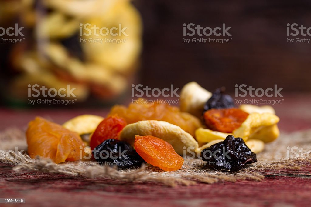 Dried fruits on a table stock photo