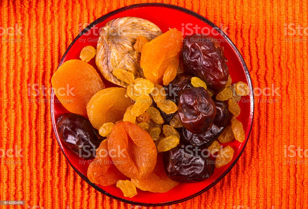dried fruits on the saucer stock photo
