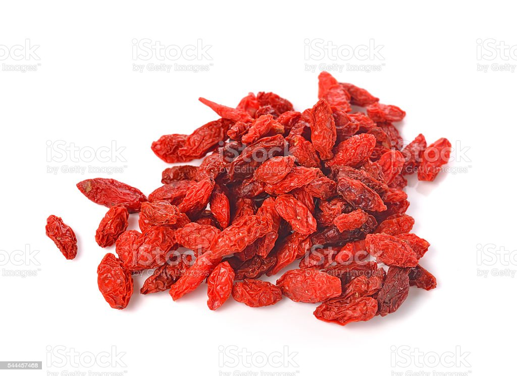 Dried goji berries, isolated on white background stock photo