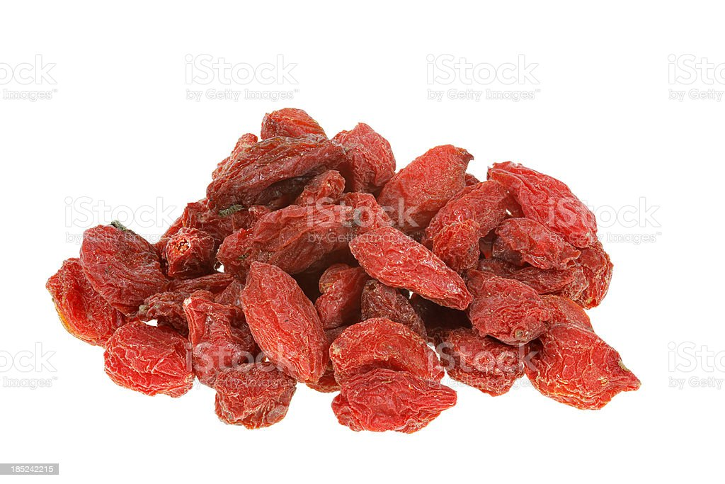 dried goji berries isolated on white royalty-free stock photo