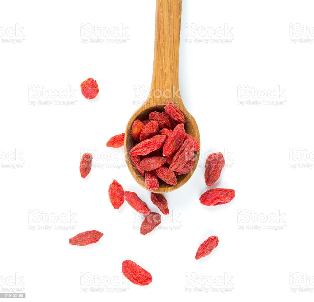 dried goji berries isolated on white stock photo