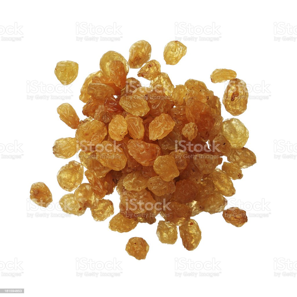 Dried golden raisins isolated on white royalty-free stock photo