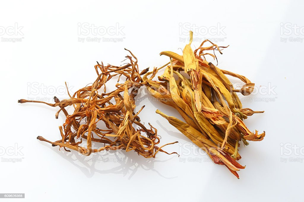 Dried herbal drugs of China on white background stock photo