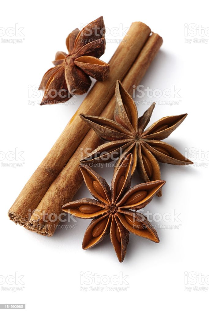Dried Herbs and Spices: Cinnamon, Anise stock photo