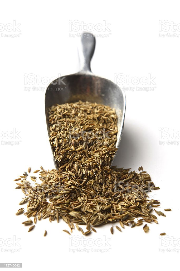 Dried Herbs and Spices: Cumin/Caraway Seeds royalty-free stock photo