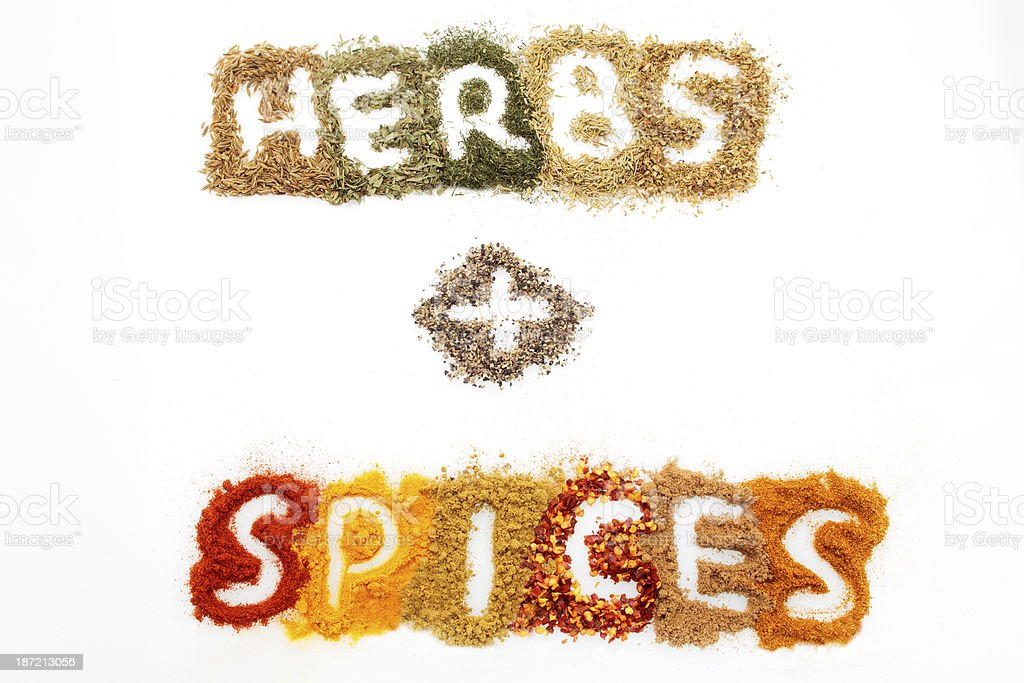 Dried herbs and spices royalty-free stock photo